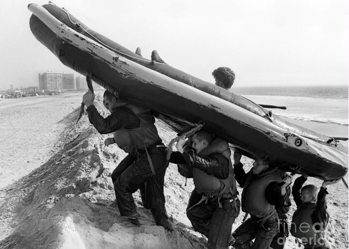 Military Greeting Card featuring the photograph Buds Students Carry An Inflatable Boat by Michael Wood