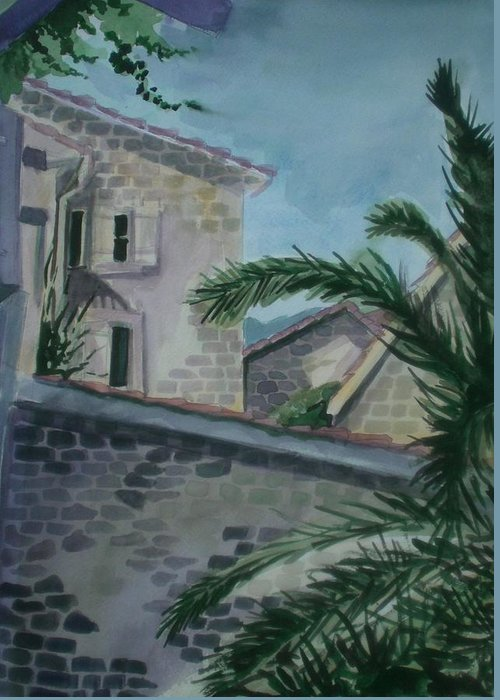 Montenegro Greeting Card featuring the painting Budva Old Town by Aleksandra Buha