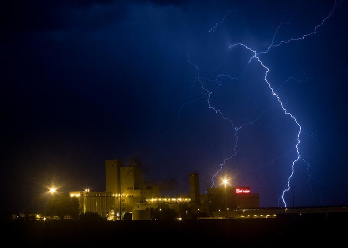 Buswesier Greeting Card featuring the photograph Budweiser Beer Brewery Storm by James BO Insogna