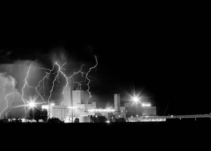 40d Greeting Card featuring the photograph Budweiser Lightning Thunderstorm Moving Out Bw by James BO Insogna
