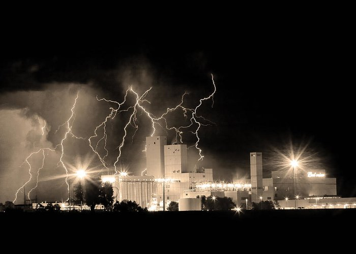 40d Greeting Card featuring the photograph Budweiser Lightning Thunderstorm Moving Out Bw Sepia Crop by James BO Insogna