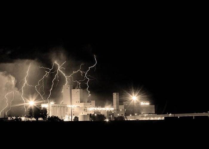 40d Greeting Card featuring the photograph Budweiser Lightning Thunderstorm Moving Out Bw Sepia by James BO Insogna