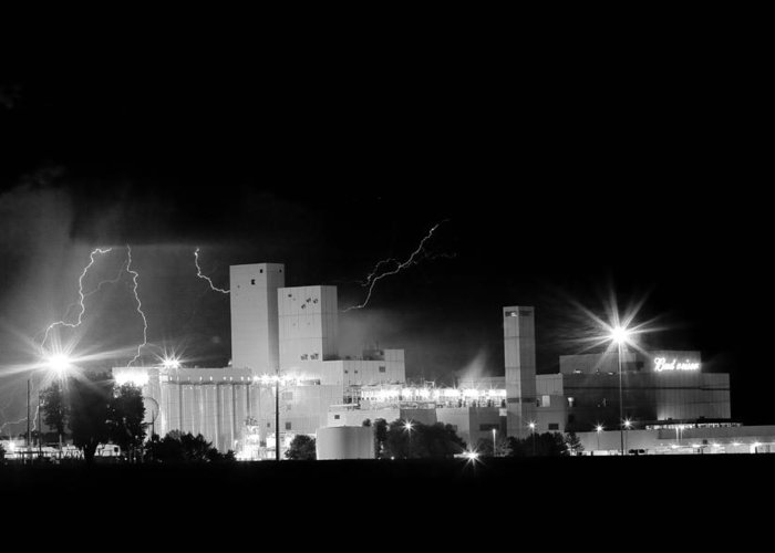 40d Greeting Card featuring the photograph Budwesier Brewery Lightning Thunderstorm Image 3918 Bw by James BO Insogna