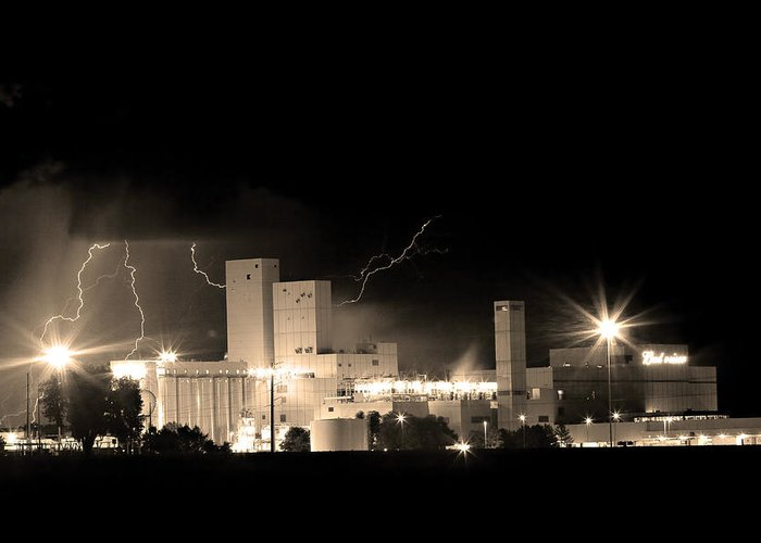 40d Greeting Card featuring the photograph Budwesier Brewery Lightning Thunderstorm Image 3918 Bw Sepia Im by James BO Insogna