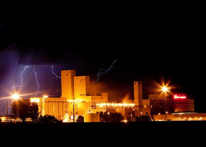 40d Greeting Card featuring the photograph Budwesier Brewery Lightning Thunderstorm Image 3918 by James BO Insogna