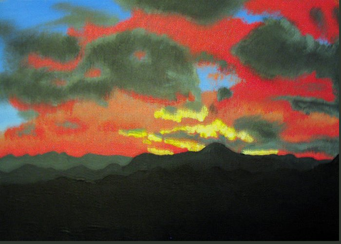 Sunset Greeting Card featuring the painting Buenas Noches by Marco Morales