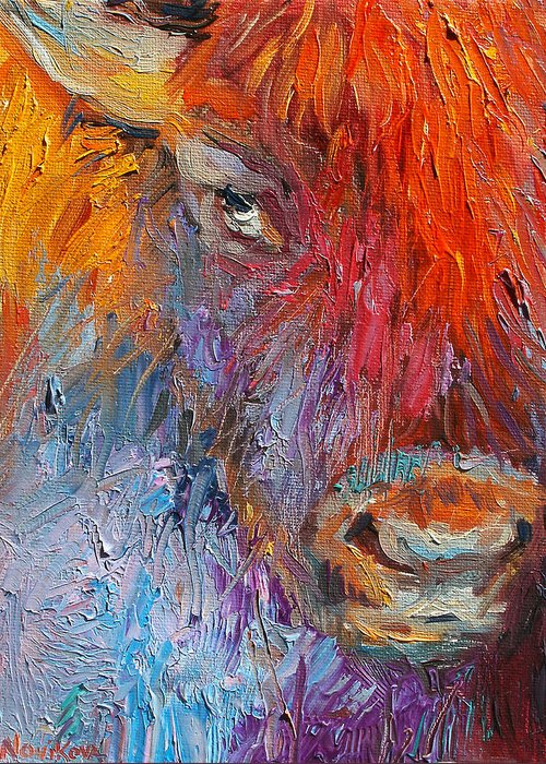 Buffalo Art Greeting Card featuring the painting Buffalo Bison Wild Life Oil Painting Print by Svetlana Novikova