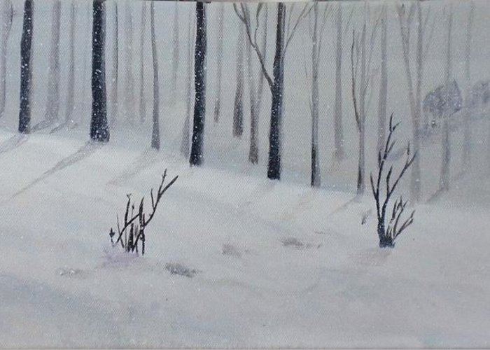 Snow Greeting Card featuring the painting Buffalo Crossing by Trilby Cole