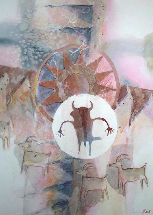 Indian Pictograph Greeting Card featuring the painting Buffalo Dancer by Don Trout