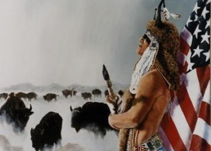 Native American Greeting Card featuring the painting Buffalo Dreamer by Syndi Michael