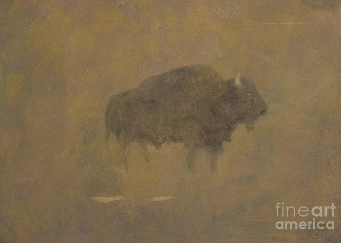 Buffalo Greeting Card featuring the painting Buffalo In A Sandstorm by Albert Bierstadt