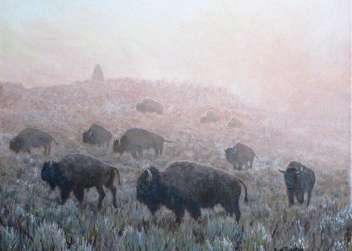 Western Art Greeting Card featuring the painting Buffalo in Yellowstone Fog by Scott Robertson