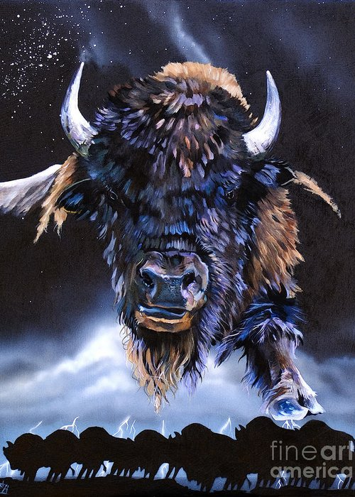 Buffalo Greeting Card featuring the painting Buffalo Medicine by J W Baker