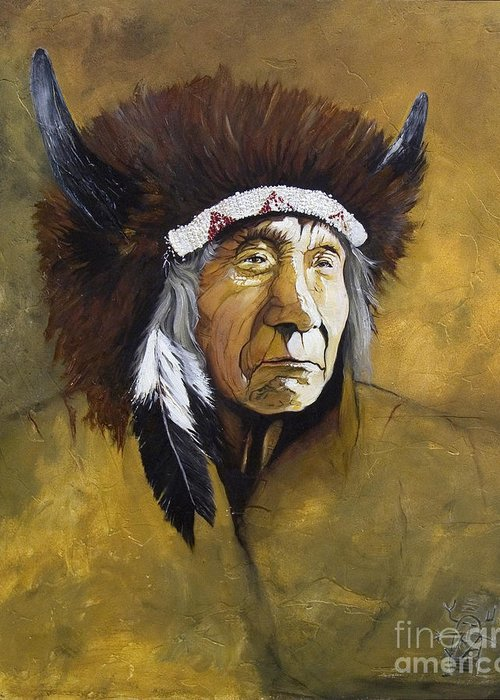 Shaman Greeting Card featuring the painting Buffalo Shaman by J W Baker