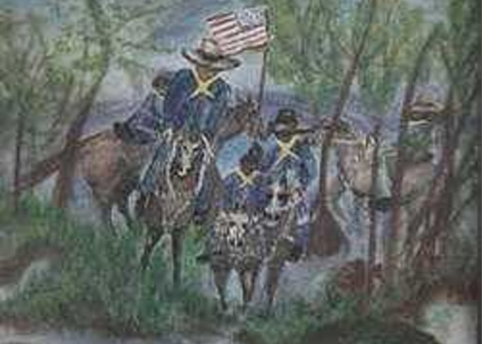 Military Greeting Card featuring the painting Buffalo Solders by Betty Abrams
