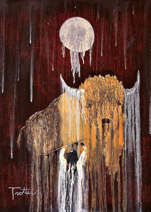 Native Art Greeting Card featuring the painting Buffalo Spirit by Patrick Trotter