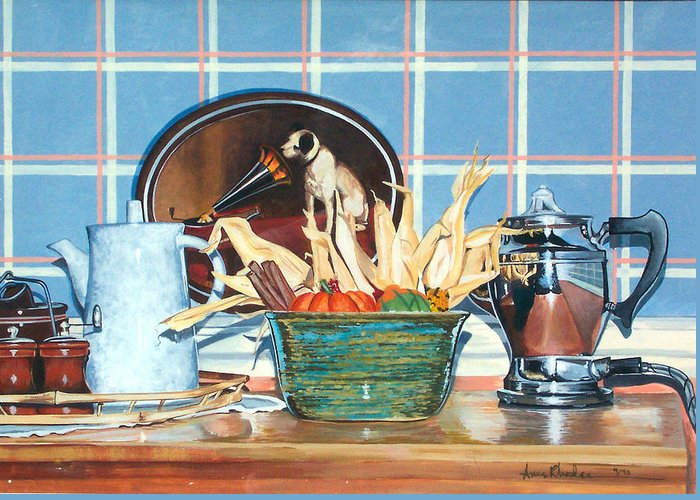 Still Life Greeting Card featuring the painting Buffet Still Life by Anne Rhodes