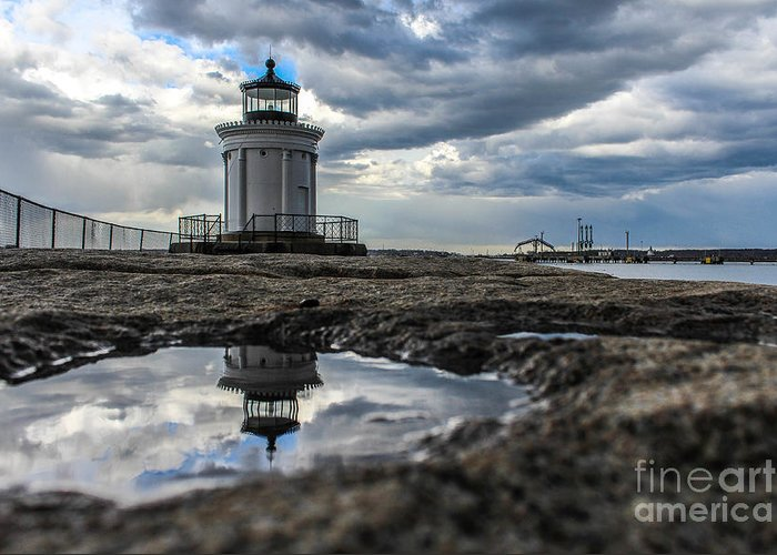 Maine Greeting Card featuring the photograph Bug Light Clouds And Reflection by Joe Faragalli
