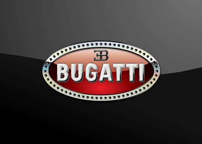 �wheels Of Fortune� Collection By Serge Averbukh Greeting Card featuring the photograph Bugatti - 3 D Badge on Black by Serge Averbukh