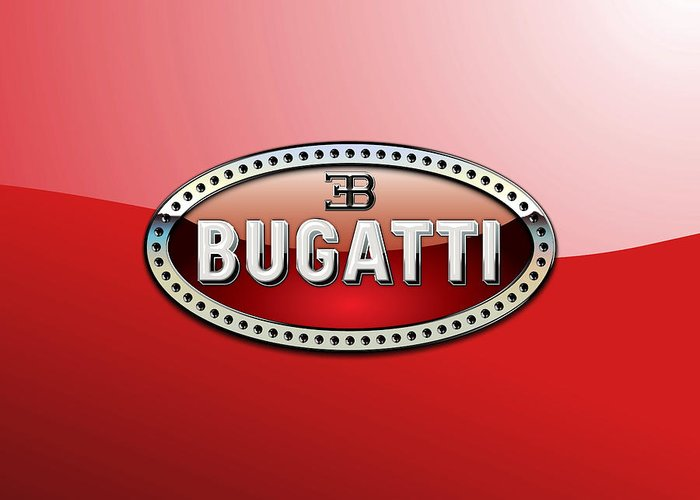 �wheels Of Fortune� Collection By Serge Averbukh Greeting Card featuring the photograph Bugatti - 3 D Badge on Red by Serge Averbukh