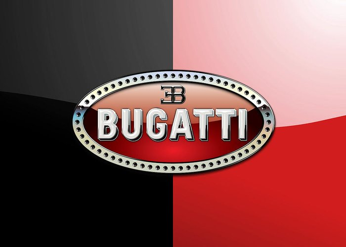 Wheels Of Fortune By Serge Averbukh Greeting Card featuring the photograph Bugatti 3 D Badge On Red And Black by Serge Averbukh