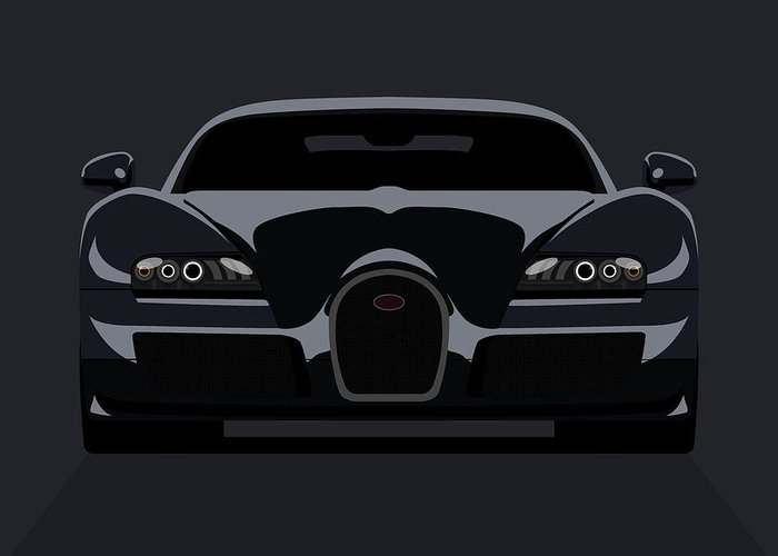 Bugatti Greeting Card featuring the digital art Bugatti Veyron Dark by Michael Tompsett