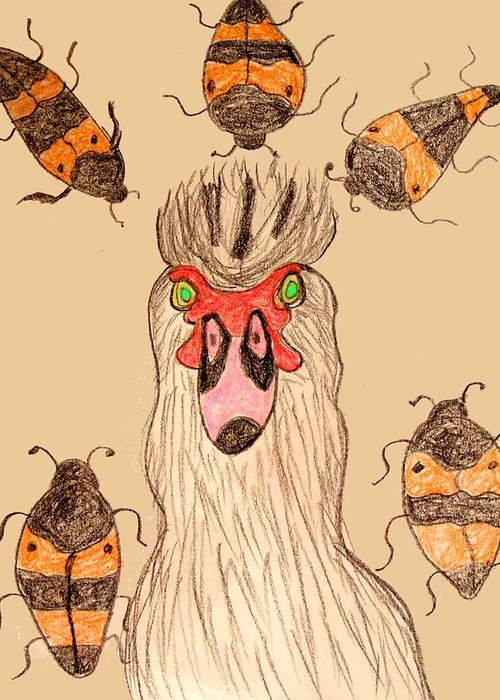 Bugs Insects Birds Chickens Greeting Card featuring the drawing Bugged Out by Betty Roberts
