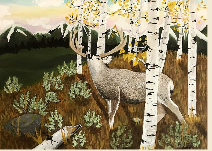 Mule Deer Greeting Card featuring the painting Bugling Mule Deer by Amber Nation