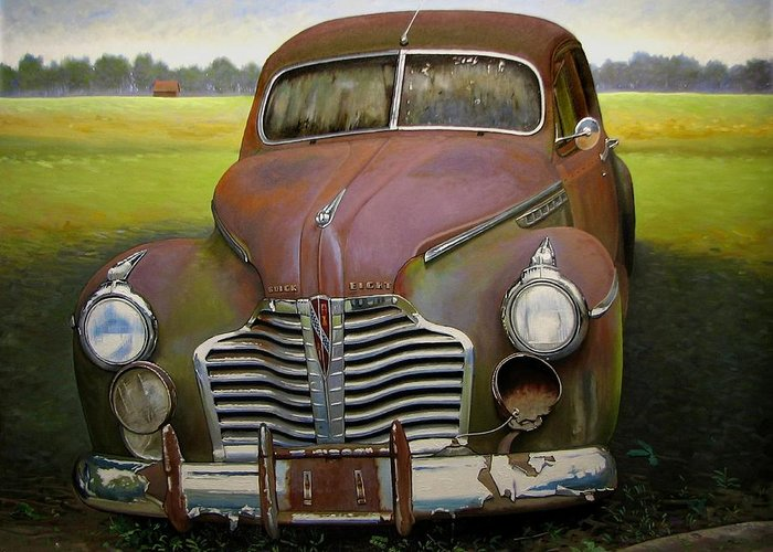 Doug Strickland Greeting Card featuring the painting Buick Eight by Doug Strickland