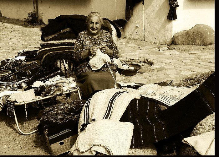 Bulgaria Greeting Card featuring the photograph Bulgarian Market Lady by Ingrid Dance