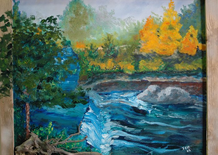 Landscape Greeting Card featuring the painting Bull Creek by James Eugene Moore
