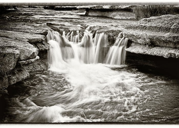 Waterfall Greeting Card featuring the photograph Bull Creek Water Run by Lisa Spencer