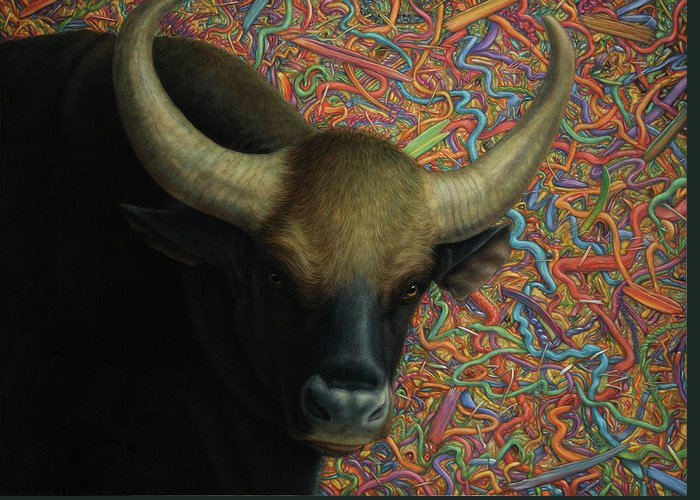 Bull Greeting Card featuring the painting Bull In A Plastic Shop by James W Johnson