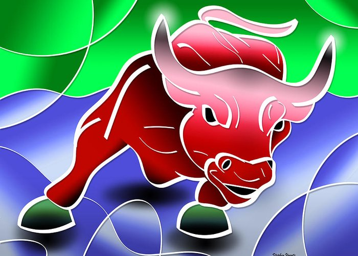 Bull Greeting Card featuring the digital art Bull Market by Stephen Younts