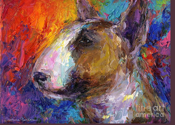 English Bull Terrier Prints Greeting Card featuring the painting Bull Terrier Dog Painting by Svetlana Novikova