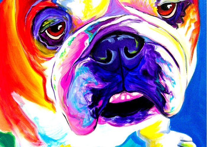 English Greeting Card featuring the painting Bulldog - Stanley by Alicia VanNoy Call