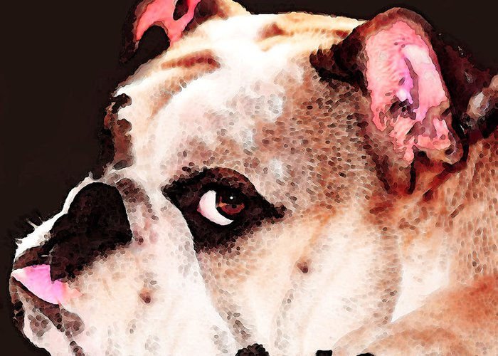 Dog Greeting Card featuring the painting Bulldog Art - Let's Play by Sharon Cummings