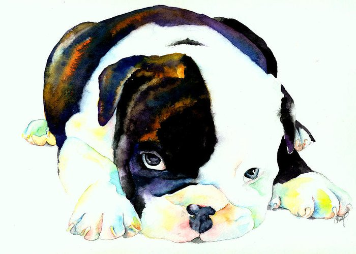 Puppy Greeting Card featuring the painting Bulldog Puppy by Christy Freeman
