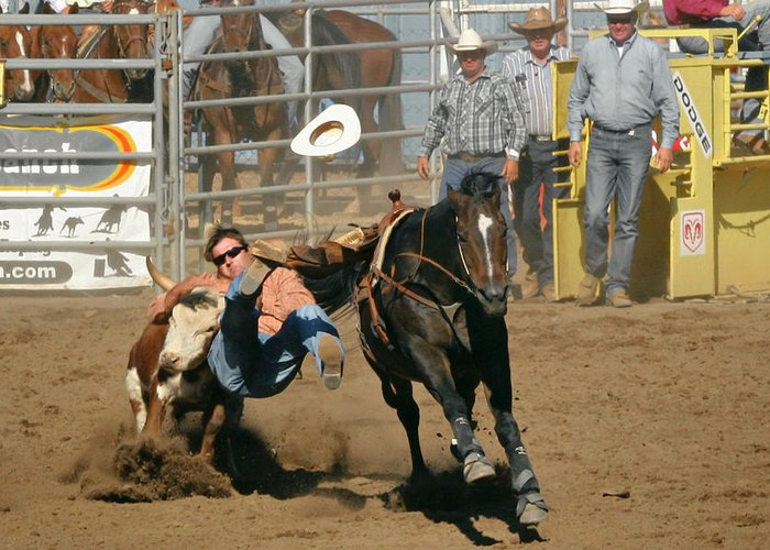 Cowboy Greeting Card featuring the photograph Bulldogging At The Rodeo by Christine Till