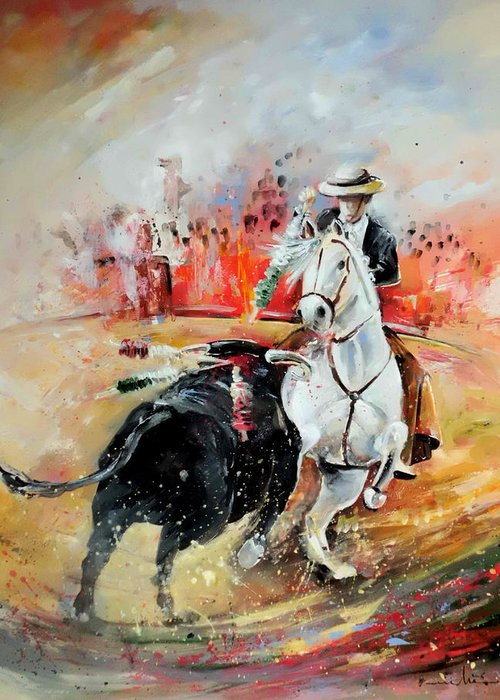 Toros Greeting Card featuring the painting Bullfight 3 by Miki De Goodaboom
