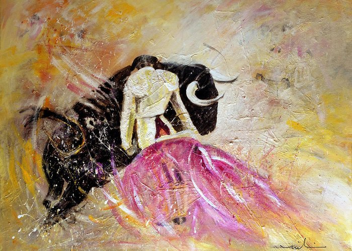 Animals Greeting Card featuring the painting Bullfight 74 by Miki De Goodaboom