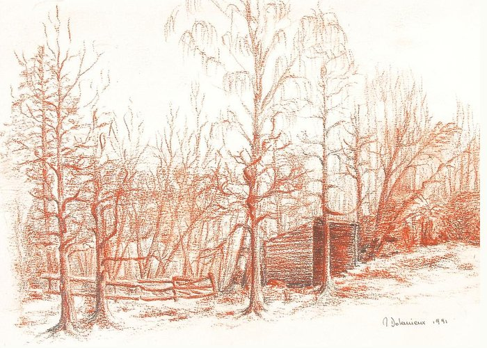Landscape Greeting Card featuring the drawing Bullion by Muriel Dolemieux