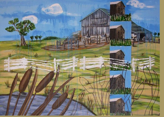 Farms Greeting Card featuring the painting Bullrushes by Judy Anderson