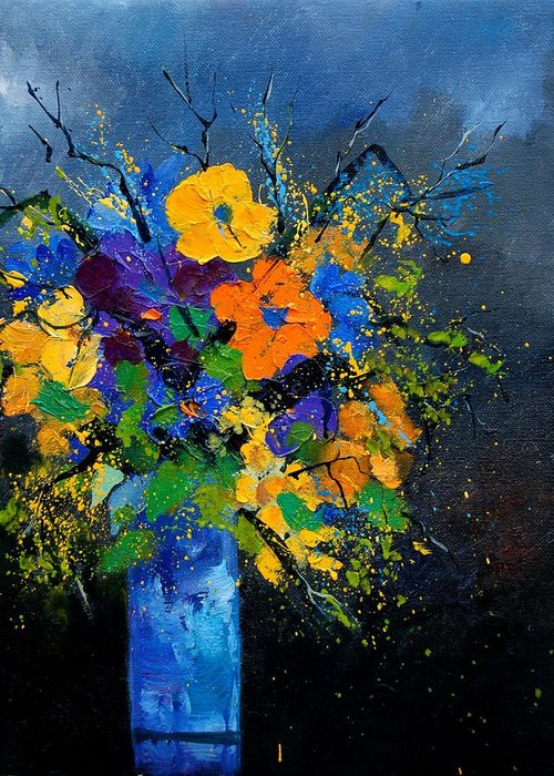 Poppies Greeting Card featuring the painting Bunch 1007 by Pol Ledent