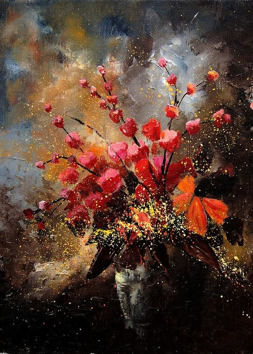 Poppies Greeting Card featuring the painting Bunch 1207 by Pol Ledent