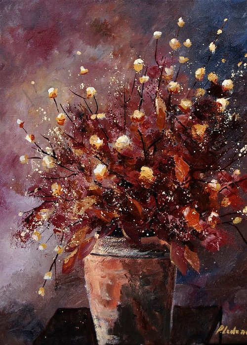 Poppies Greeting Card featuring the painting Bunch 56 by Pol Ledent