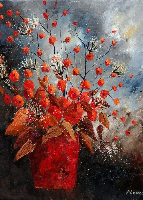 Flowers Greeting Card featuring the painting Bunch 560608 by Pol Ledent