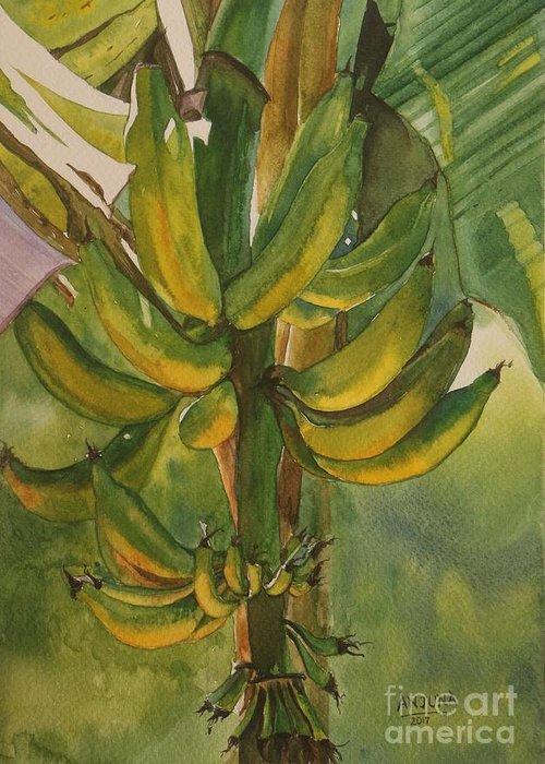 Bananas Greeting Card featuring the painting Bunch Of Bananas by Anjuna Sainath