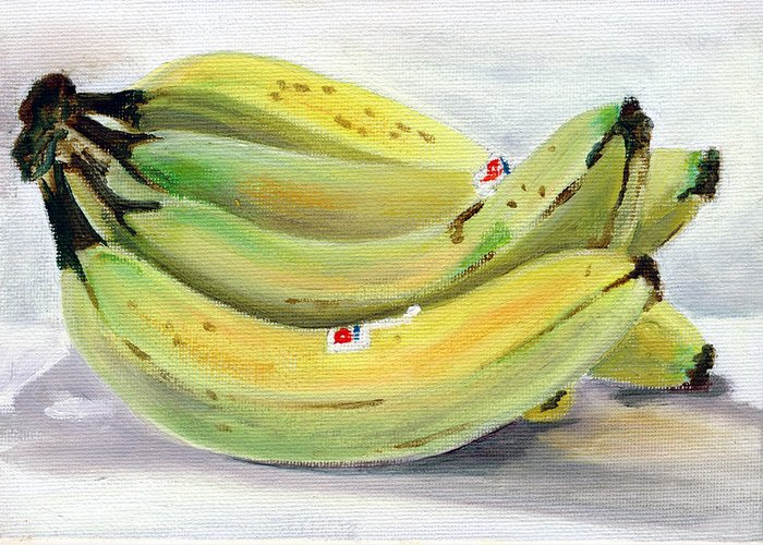Still-life Greeting Card featuring the painting Bunch Of Bananas by Sarah Lynch