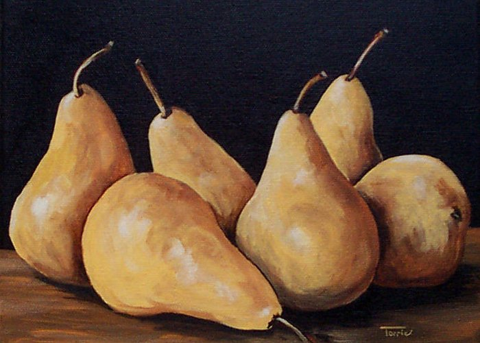 Golden Bosc Pears Greeting Card featuring the painting Bunch Of Bosc Pears by Torrie Smiley
